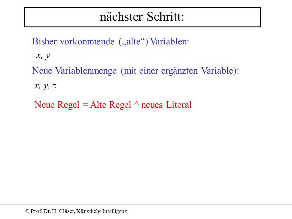 © Prof. Dr. H. Gläser, Künstliche Intelligenz nächster Schritt: Bisher vorkommende (alte) Variablen: Neue Regel = Alte Regel ^ neues Literal x, y Neue