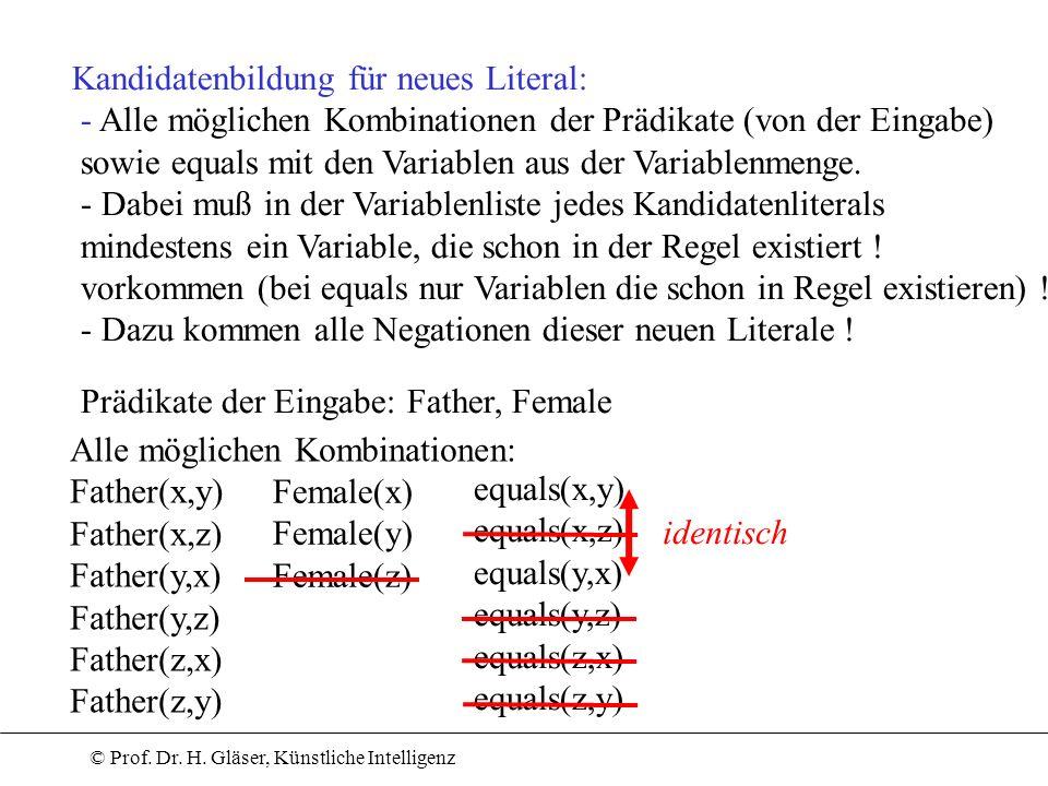 © Prof. Dr. H. Gläser, Künstliche Intelligenz Kandidatenbildung für neues Literal: - Alle möglichen Kombinationen der Prädikate (von der Eingabe) sowi