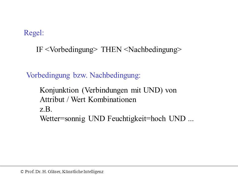 © Prof. Dr. H. Gläser, Künstliche Intelligenz Regel: IF THEN Vorbedingung bzw. Nachbedingung: Konjunktion (Verbindungen mit UND) von Attribut / Wert K