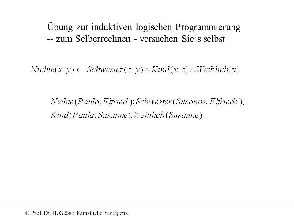 © Prof. Dr. H. Gläser, Künstliche Intelligenz Übung zur induktiven logischen Programmierung -- zum Selberrechnen - versuchen Sies selbst