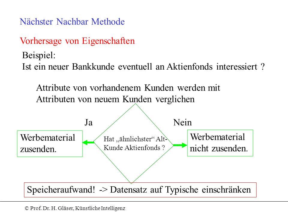 © Prof. Dr. H. Gläser, Künstliche Intelligenz Nächster Nachbar Methode Vorhersage von Eigenschaften Beispiel: Ist ein neuer Bankkunde eventuell an Akt