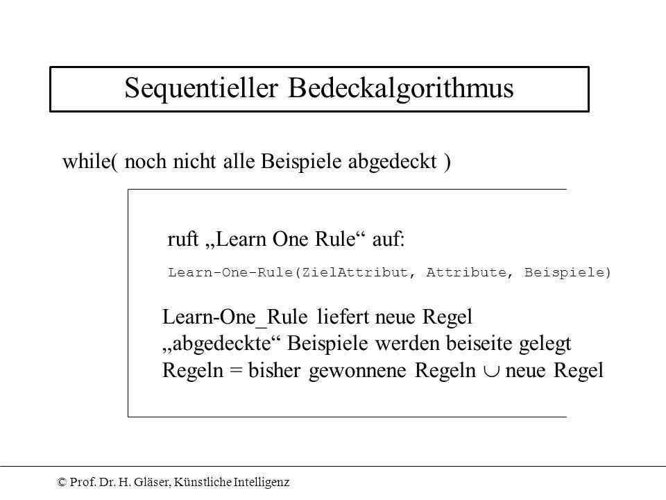 © Prof. Dr. H. Gläser, Künstliche Intelligenz Sequentieller Bedeckalgorithmus while( noch nicht alle Beispiele abgedeckt ) ruft Learn One Rule auf: Le