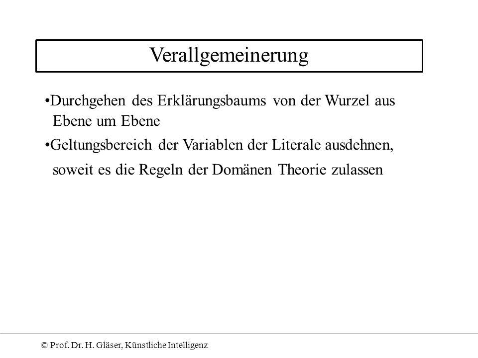 © Prof. Dr. H. Gläser, Künstliche Intelligenz Verallgemeinerung Durchgehen des Erklärungsbaums von der Wurzel aus Ebene um Ebene Geltungsbereich der V