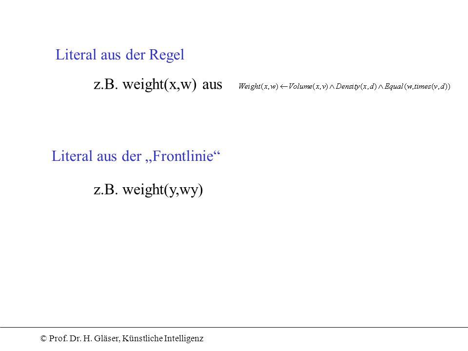 © Prof. Dr. H. Gläser, Künstliche Intelligenz Literal aus der Regel Literal aus der Frontlinie z.B. weight(x,w) aus z.B. weight(y,wy)