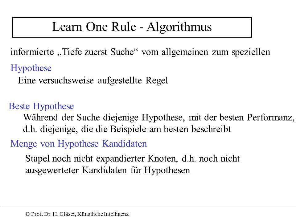 © Prof. Dr. H. Gläser, Künstliche Intelligenz Learn One Rule - Algorithmus Menge von Hypothese Kandidaten Beste Hypothese informierte Tiefe zuerst Suc