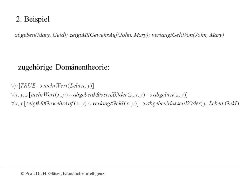 © Prof. Dr. H. Gläser, Künstliche Intelligenz 2. Beispiel abgeben(Mary, Geld); zeigtMitGewehrAuf(John, Mary); verlangtGeldVon(John, Mary) zugehörige D