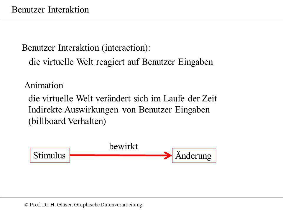 © Prof. Dr. H. Gläser, Graphische Datenverarbeitung Benutzer Interaktion Benutzer Interaktion (interaction): die virtuelle Welt reagiert auf Benutzer