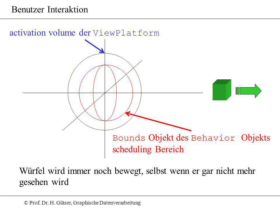 © Prof. Dr. H. Gläser, Graphische Datenverarbeitung Benutzer Interaktion Bounds Objekt des Behavior Objekts scheduling Bereich activation volume der V