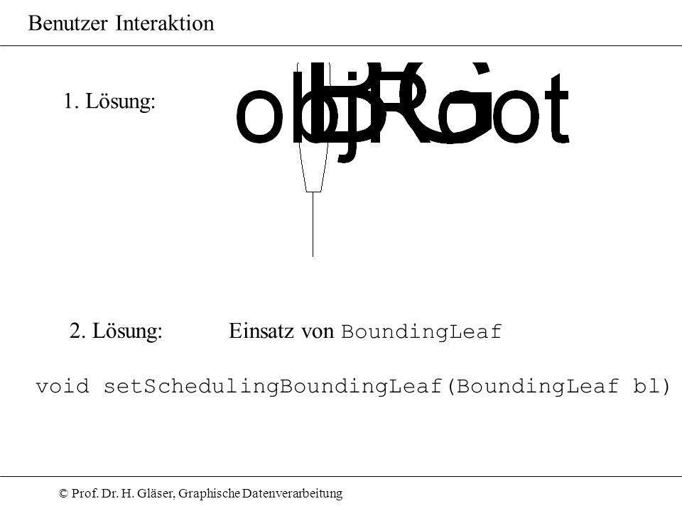 © Prof. Dr. H. Gläser, Graphische Datenverarbeitung Benutzer Interaktion 1. Lösung: 2. Lösung: Einsatz von BoundingLeaf void setSchedulingBoundingLeaf