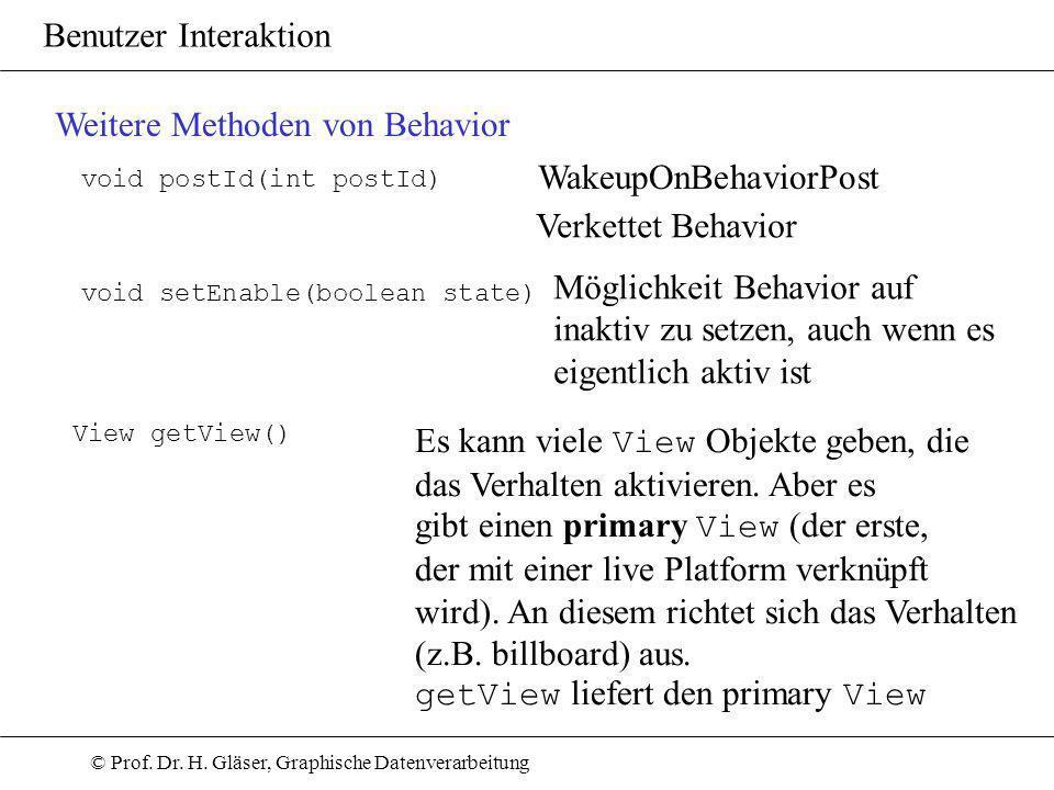 © Prof. Dr. H. Gläser, Graphische Datenverarbeitung Benutzer Interaktion Weitere Methoden von Behavior void postId(int postId) WakeupOnBehaviorPost Ve