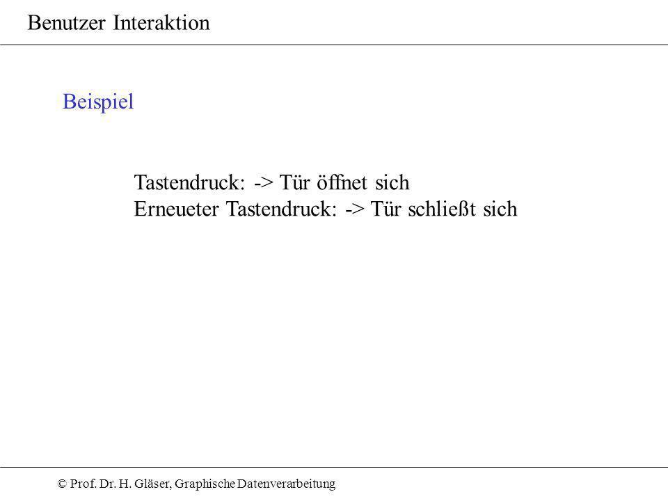 © Prof. Dr. H. Gläser, Graphische Datenverarbeitung Benutzer Interaktion Beispiel Tastendruck: -> Tür öffnet sich Erneueter Tastendruck: -> Tür schlie