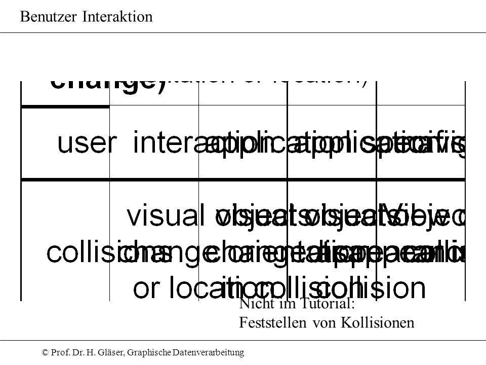 © Prof. Dr. H. Gläser, Graphische Datenverarbeitung Benutzer Interaktion Nicht im Tutorial: Feststellen von Kollisionen