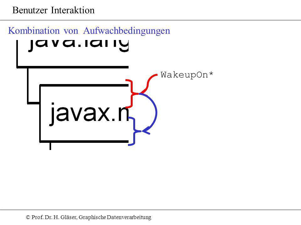 © Prof. Dr. H. Gläser, Graphische Datenverarbeitung Benutzer Interaktion Kombination von Aufwachbedingungen WakeupOn*