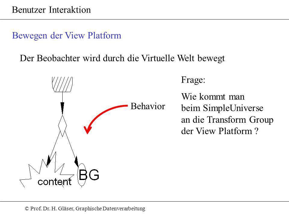 © Prof. Dr. H. Gläser, Graphische Datenverarbeitung Benutzer Interaktion Der Beobachter wird durch die Virtuelle Welt bewegt Behavior Bewegen der View