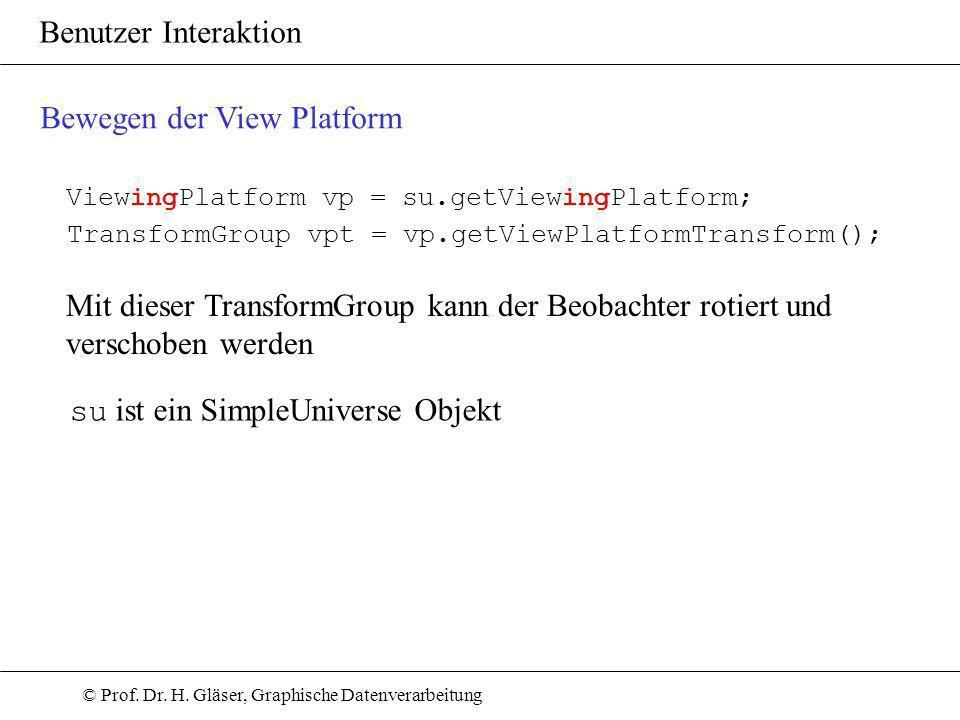 © Prof. Dr. H. Gläser, Graphische Datenverarbeitung Benutzer Interaktion Bewegen der View Platform ViewingPlatform vp = su.getViewingPlatform; Transfo