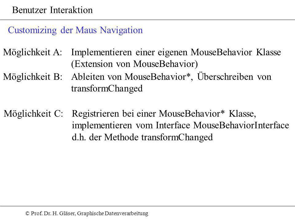 © Prof. Dr. H. Gläser, Graphische Datenverarbeitung Benutzer Interaktion Customizing der Maus Navigation Möglichkeit A:Implementieren einer eigenen Mo
