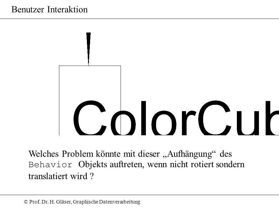 © Prof. Dr. H. Gläser, Graphische Datenverarbeitung Benutzer Interaktion Welches Problem könnte mit dieser Aufhängung des Behavior Objekts auftreten,