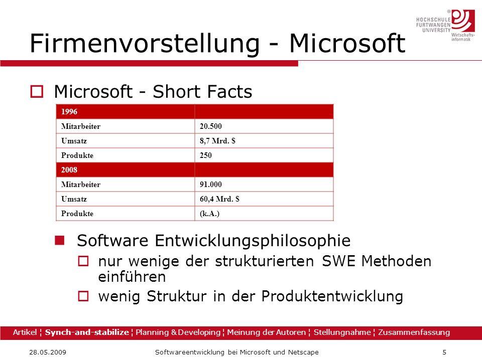 28.05.2009Softwareentwicklung bei Microsoft und Netscape5 Firmenvorstellung - Microsoft Microsoft - Short Facts Software Entwicklungsphilosophie nur w