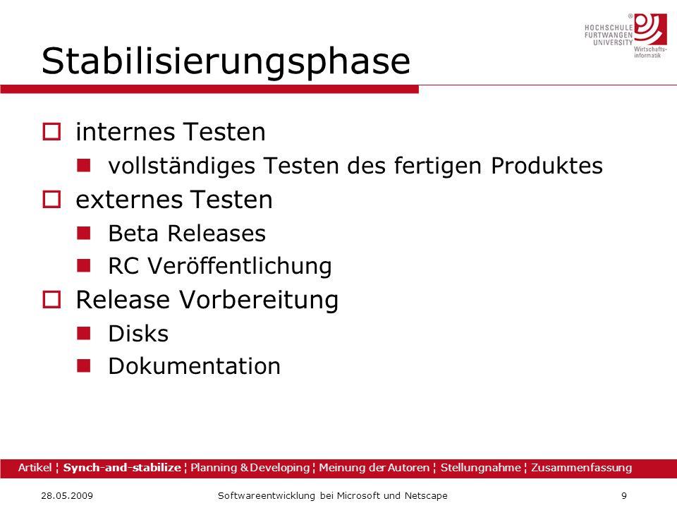 28.05.2009Softwareentwicklung bei Microsoft und Netscape9 Stabilisierungsphase internes Testen vollständiges Testen des fertigen Produktes externes Te