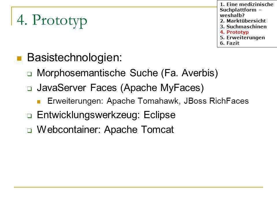 4. Prototyp Basistechnologien: Morphosemantische Suche (Fa. Averbis) JavaServer Faces (Apache MyFaces) Erweiterungen: Apache Tomahawk, JBoss RichFaces