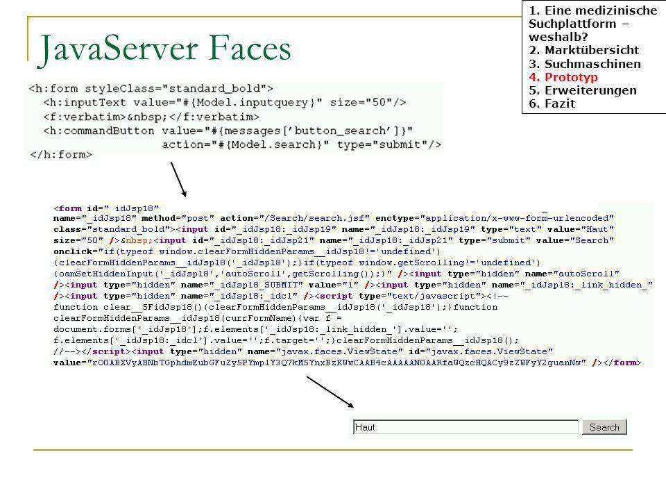 JavaServer Faces 1. Eine medizinische Suchplattform – weshalb? 2. Marktübersicht 3. Suchmaschinen 4. Prototyp 5. Erweiterungen 6. Fazit