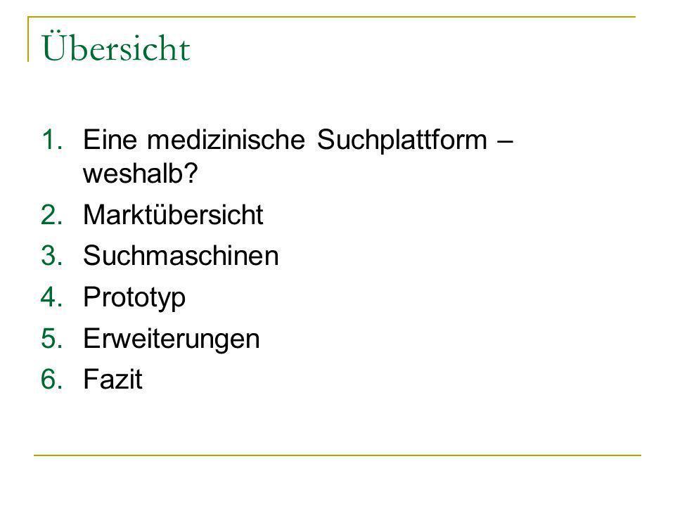 Übersicht 1.Eine medizinische Suchplattform – weshalb? 2.Marktübersicht 3.Suchmaschinen 4.Prototyp 5.Erweiterungen 6.Fazit