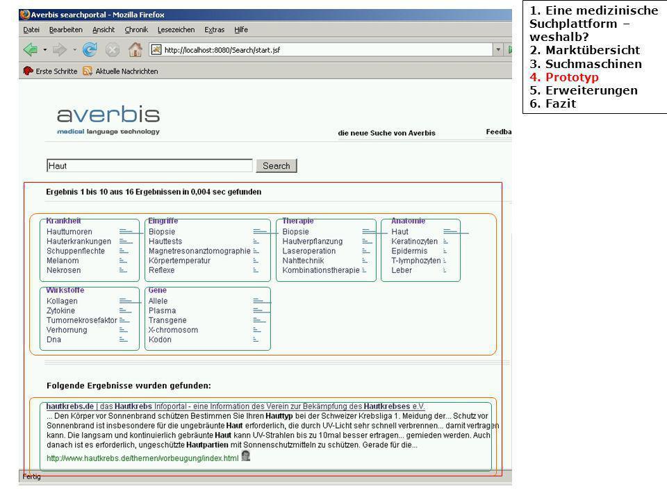 1. Eine medizinische Suchplattform – weshalb? 2. Marktübersicht 3. Suchmaschinen 4. Prototyp 5. Erweiterungen 6. Fazit