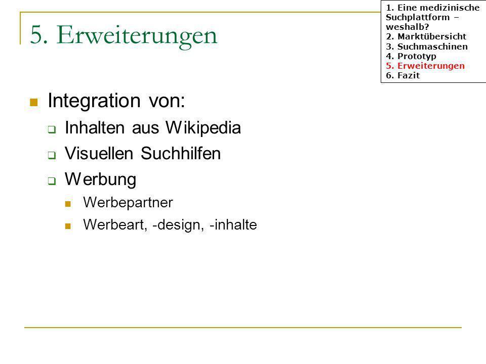 1. Eine medizinische Suchplattform – weshalb? 2. Marktübersicht 3. Suchmaschinen 4. Prototyp 5. Erweiterungen 6. Fazit 5. Erweiterungen Integration vo