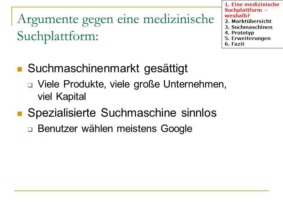 Argumente gegen eine medizinische Suchplattform: Suchmaschinenmarkt gesättigt Viele Produkte, viele große Unternehmen, viel Kapital Spezialisierte Suchmaschine sinnlos Benutzer wählen meistens Google 1.