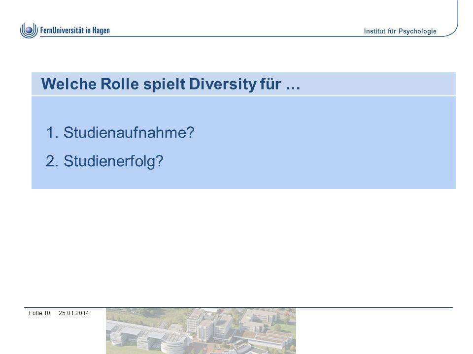 Institut für Psychologie 25.01.2014Folie 10 Welche Rolle spielt Diversity für … 1.Studienaufnahme? 2.Studienerfolg?
