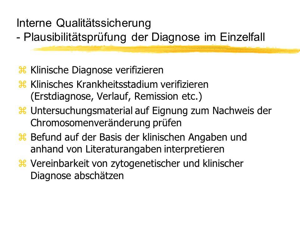 Interne Qualitätssicherung - Plausibilitätsprüfung der Diagnose im Einzelfall zKlinische Diagnose verifizieren zKlinisches Krankheitsstadium verifizie