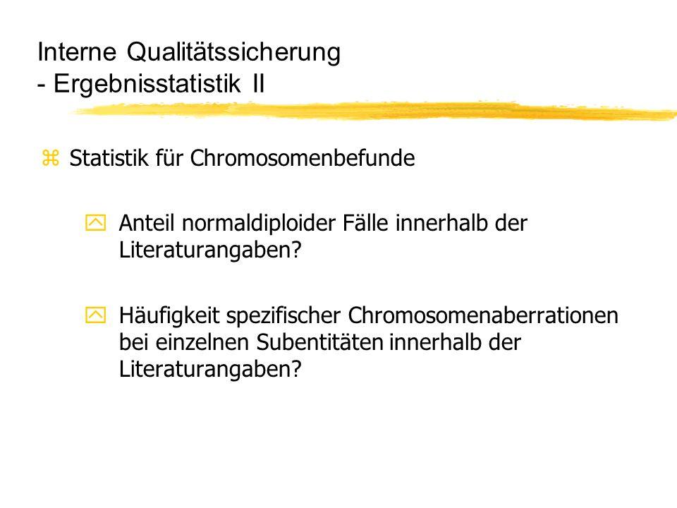 Interne Qualitätssicherung - Ergebnisstatistik II zStatistik für Chromosomenbefunde yAnteil normaldiploider Fälle innerhalb der Literaturangaben? yHäu