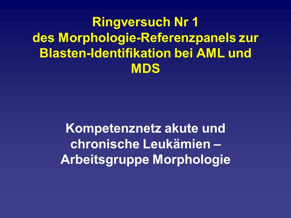 Vorgehen Teilnehmer: 14 Mitglieder der Arbeitsgruppe Morphologie-Projekt des Kompetenznetzes Leukämien: Das sind die morphologischen Referenzzentren der Studien und die regelmäßigen Teilnehmer der telemikroskopischen Konferenz.