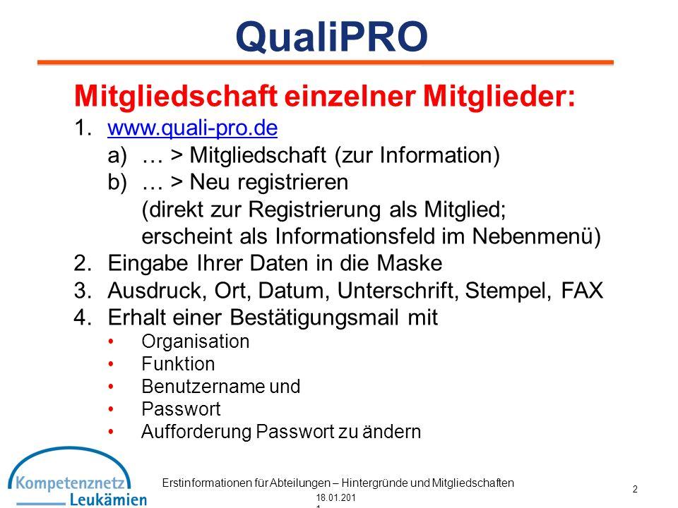 Erstinformationen für Abteilungen – Hintergründe und Mitgliedschaften 18.01.201 1 QualiPRO Mitgliedschaft einzelner Mitglieder: 1.www.quali-pro.dewww.