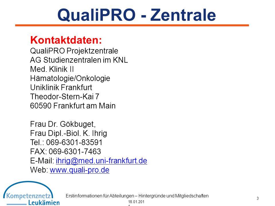 Erstinformationen für Abteilungen – Hintergründe und Mitgliedschaften 18.01.201 1 QualiPRO - Zentrale Kontaktdaten: QualiPRO Projektzentrale AG Studie