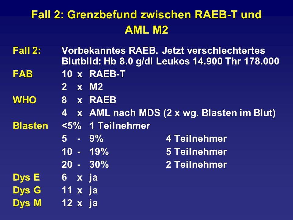Fall 2: Grenzbefund zwischen RAEB-T und AML M2 Fall 2: Vorbekanntes RAEB. Jetzt verschlechtertes Blutbild: Hb 8.0 g/dl Leukos 14.900 Thr 178.000 FAB10