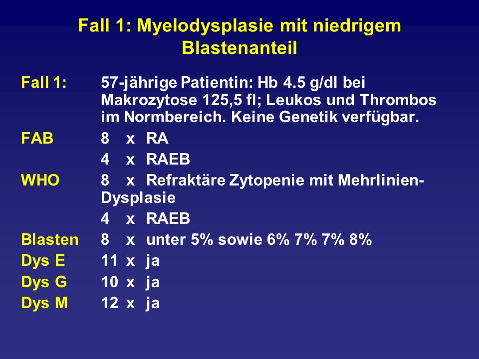Fall 1: Myelodysplasie mit niedrigem Blastenanteil Fall 1: 57-jährige Patientin: Hb 4.5 g/dl bei Makrozytose 125,5 fl; Leukos und Thrombos im Normbere