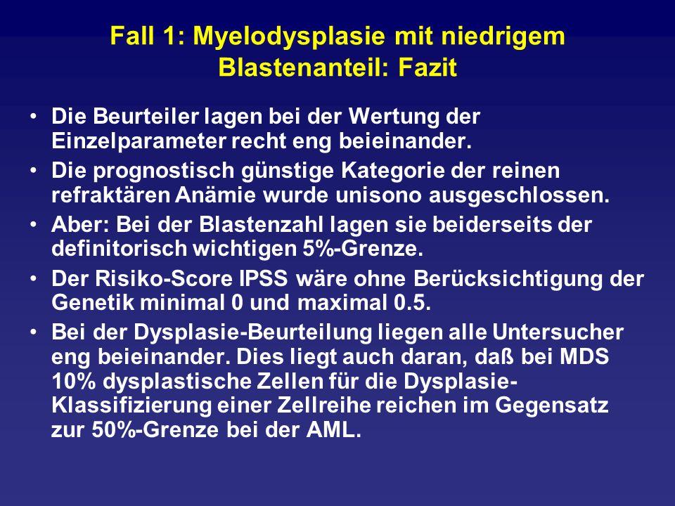 Fall 2: Myelodysplasie mit hohem Blastenanteil/Grenzbefund zu AML M2 Mikrokaryozyten sind oft so klein, daß man sie kaum als Zellen der megakaryozytären Reihe erkennt.