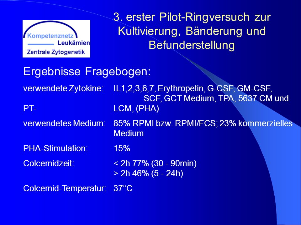 3. erster Pilot-Ringversuch zur Kultivierung, Bänderung und Befunderstellung Ergebnisse Fragebogen: verwendete Zytokine:IL1,2,3,6,7, Erythropetin, G-C