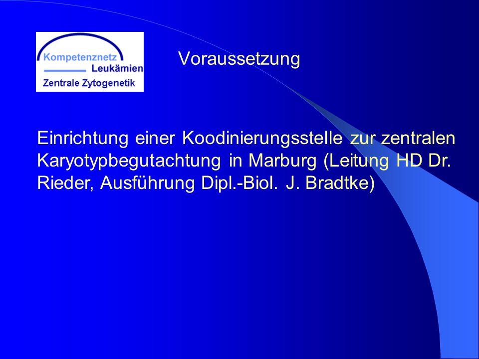 Voraussetzung Einrichtung einer Koodinierungsstelle zur zentralen Karyotypbegutachtung in Marburg (Leitung HD Dr. Rieder, Ausführung Dipl.-Biol. J. Br