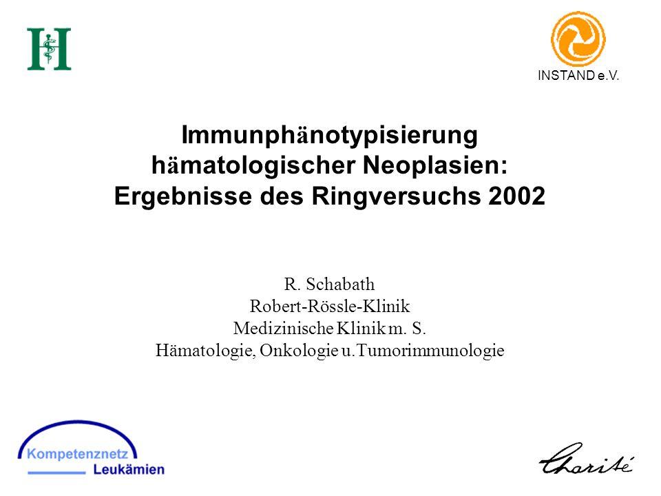 Immunph ä notypisierung h ä matologischer Neoplasien: Ergebnisse des Ringversuchs 2002 R. Schabath Robert-Rössle-Klinik Medizinische Klinik m. S. Häma