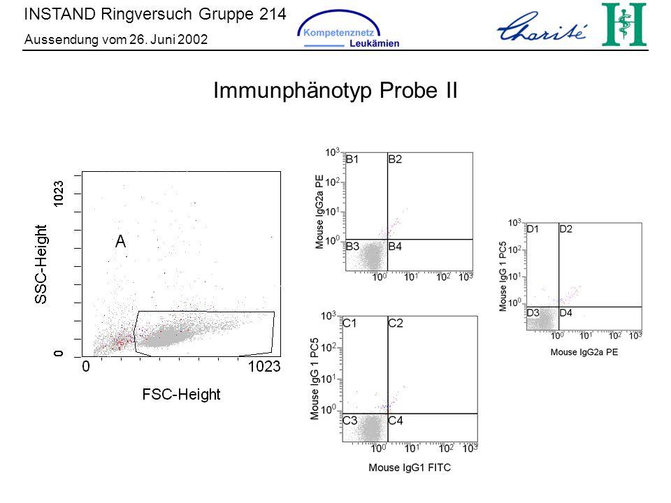 INSTAND Ringversuch Gruppe 214 Aussendung vom 26. Juni 2002 Immunphänotyp Probe II