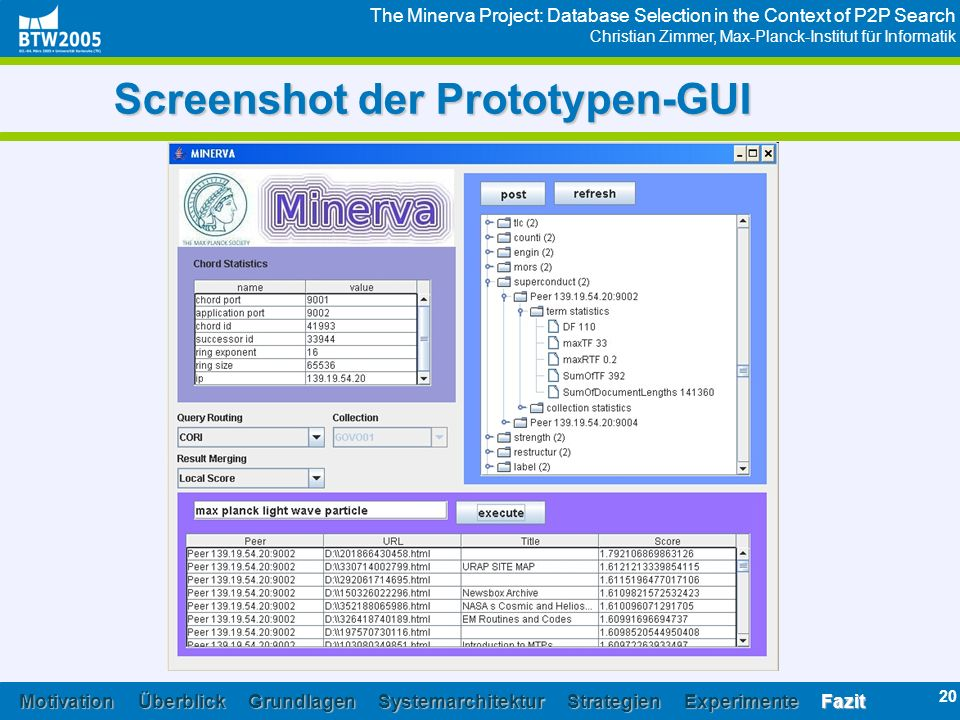 The Minerva Project: Database Selection in the Context of P2P Search Christian Zimmer, Max-Planck-Institut für Informatik 20 Screenshot der Prototypen