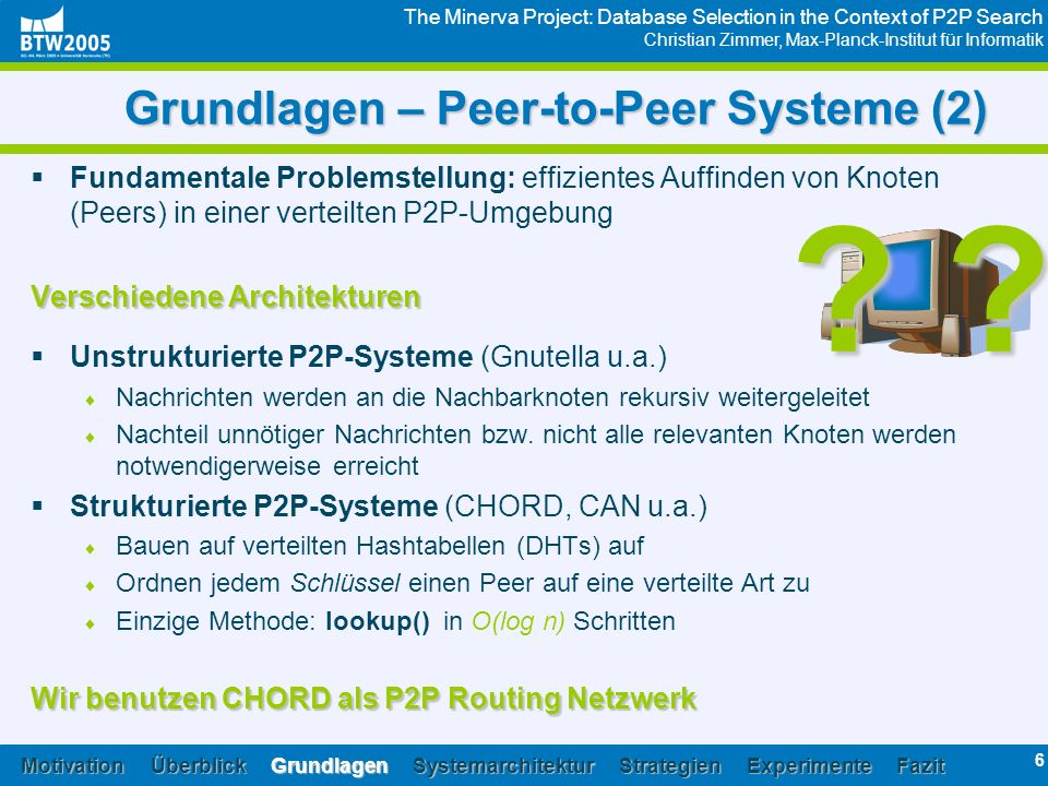 The Minerva Project: Database Selection in the Context of P2P Search Christian Zimmer, Max-Planck-Institut für Informatik 6 Grundlagen – Peer-to-Peer