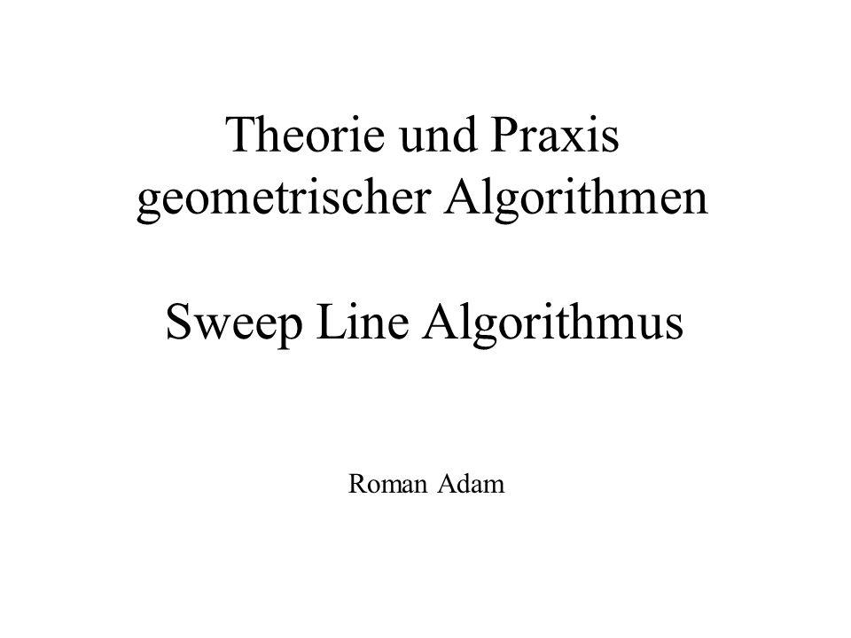 Sweep Line Algorithmus Voraussetzung: x-Koordinaten der Schnitt- und Endpunkte sind paarweise verschieden Länge der Segmente > 0 -nur echte Schnittpunkte -keine Linien parallel zur y-Achse -keine Mehrfachschnittpunkte -keine überlappenden Segmente