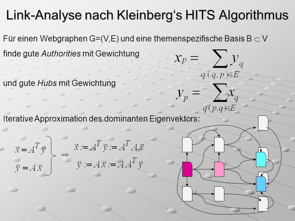 Link-Analyse nach Kleinbergs HITS Algorithmus Für einen Webgraphen G=(V,E) und eine themenspezifische Basis B V finde gute Authorities mit Gewichtung