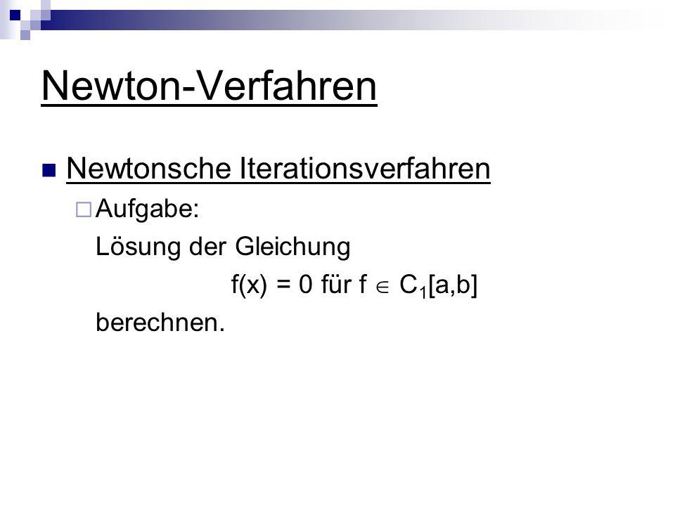 Newton-Verfahren Newtonsche Iterationsverfahren Aufgabe: Lösung der Gleichung f(x) = 0 für f C 1 [a,b] berechnen.