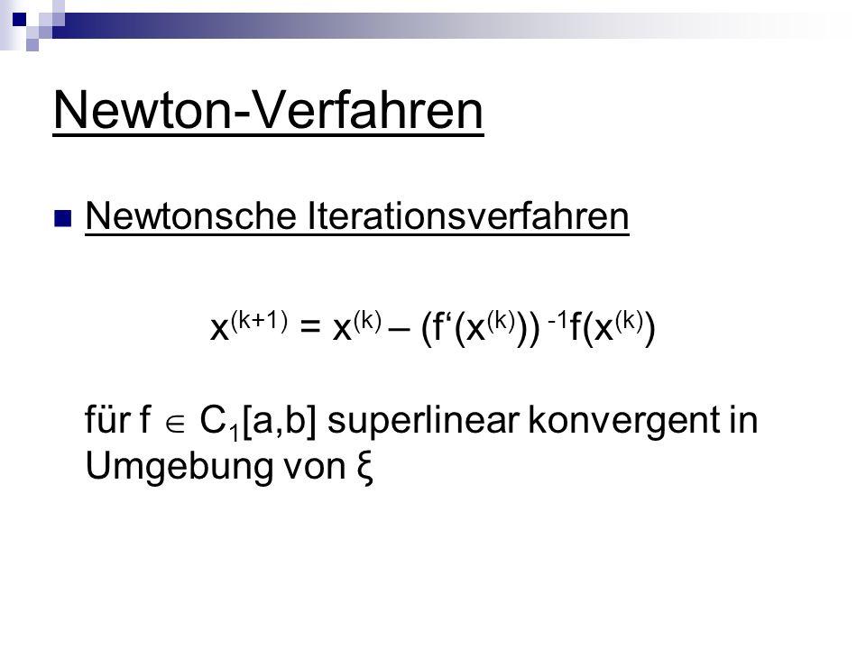 Newton-Verfahren Newtonsche Iterationsverfahren x (k+1) = x (k) – (f(x (k) )) -1 f(x (k) ) für f C 1 [a,b] superlinear konvergent in Umgebung von ξ