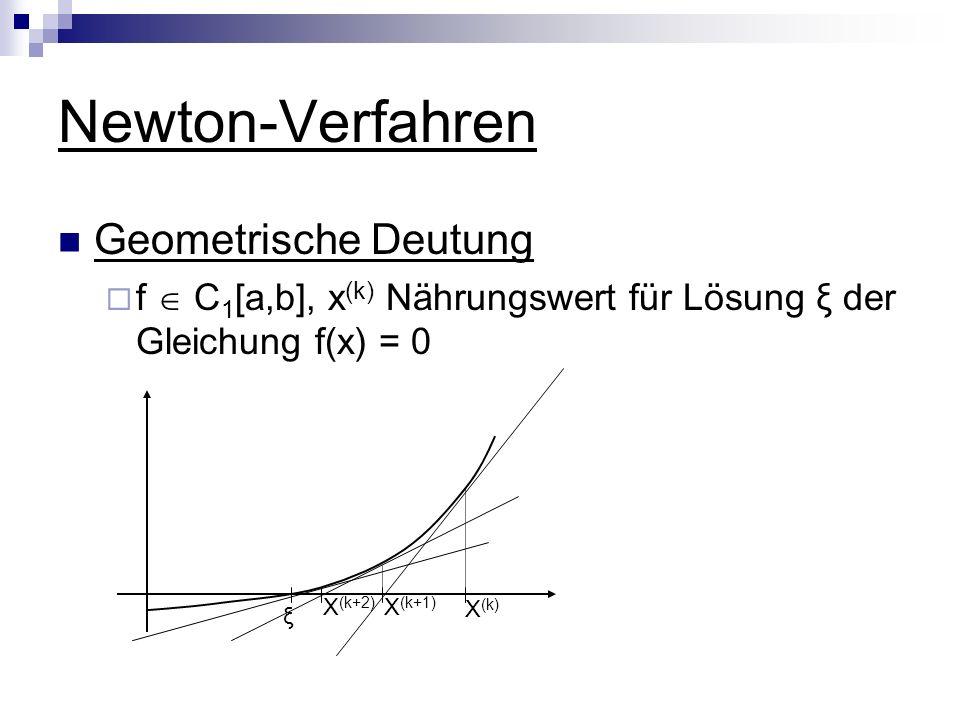 Newton-Verfahren Geometrische Deutung f C 1 [a,b], x (k) Nährungswert für Lösung ξ der Gleichung f(x) = 0 ξ X (k) X (k+1) X (k+2)