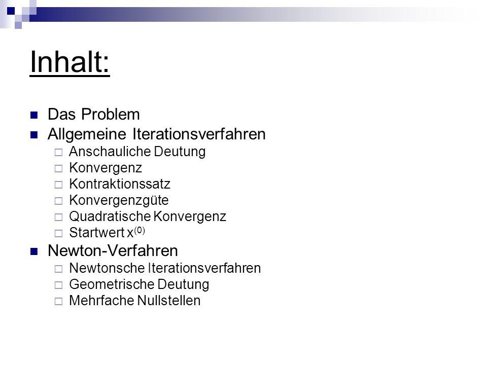 Inhalt: Das Problem Allgemeine Iterationsverfahren Anschauliche Deutung Konvergenz Kontraktionssatz Konvergenzgüte Quadratische Konvergenz Startwert x
